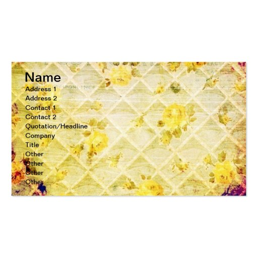 Vintage Yellow Rose Wallpaper Grunge Business Card