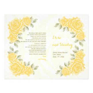 Vintage yellow roses wedding folded program 21.5 cm x 28 cm flyer