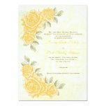 Vintage yellow roses wedding invitation