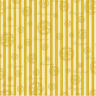 Vintage Yellow Stripes Gold Paris Damask Pattern Standing Photo Sculpture