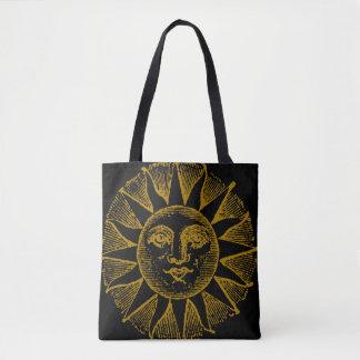 vintage yellow sun on black tote bag