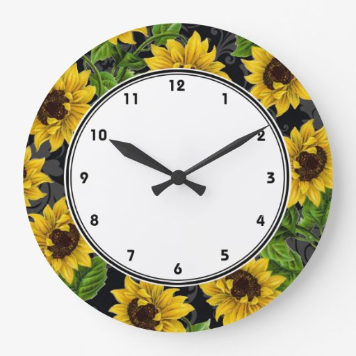 vintage yellow sunflowers on black wall clock zazzle
