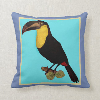 VINTAGE YELLOW THROATED TOUCAN.VINTAGE BIRD PILLOW