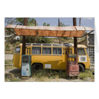 Vintage Yellow Van and Old Petrol/Gas Station Card