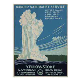 Vintage Yellowstone National Park Advertisement Poster