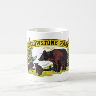 Vintage Yellowstone National Park with Brown Bears Basic White Mug