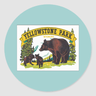 Vintage Yellowstone Park Wyoming USA Classic Round Sticker