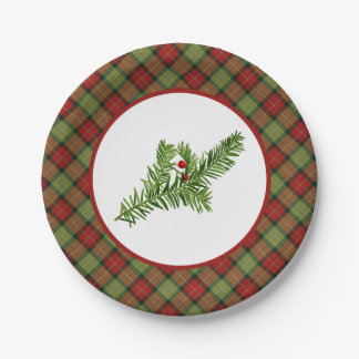 Vintage Yew with Christmas Plaid Paper Plates 7 Inch Paper Plate