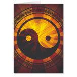 Vintage Yin Yang Symbol Print Greeting Card