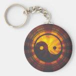 Vintage Yin Yang Symbol Print Key Chain