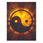 Vintage Yin Yang Symbol Print Postcard
