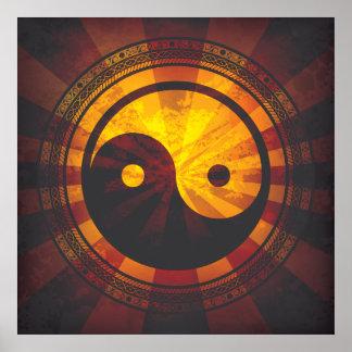 Vintage Yin Yang Symbol Print