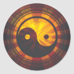 Vintage Yin Yang Symbol Print Classic Round Sticker
