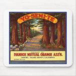 Vintage Yo-Semi-Te Orange Label Mouse Pad
