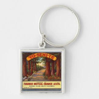 Vintage Yo-Semi-Te Orange Label Silver-Colored Square Key Ring