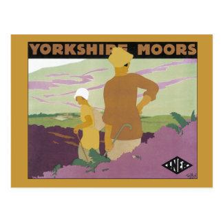 Vintage Yorkshire Moors, Railway 1920s travel ad Postcard