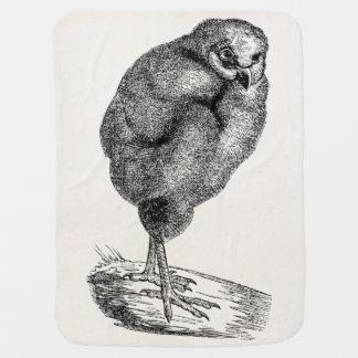 Vintage Young Barn Owl Bird - Baby Birds Template Baby Blanket