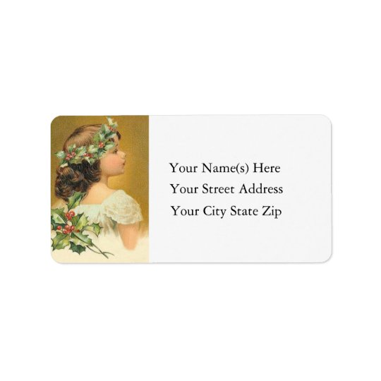 Vintage Young Girl With Holly Christmas Address Label