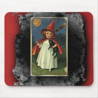 Vintage Young Halloween Witch Mousepads