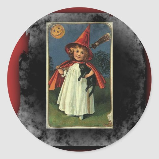Vintage Young Halloween Witch Round Stickers