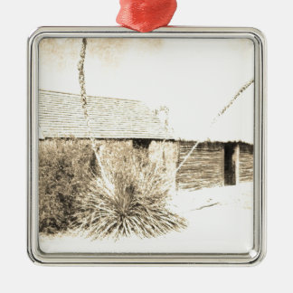 Vintage Yucca Plant with One Story House Silver-Colored Square Decoration