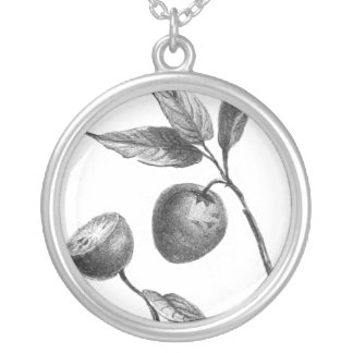 Vintage zapote exotic fruit etching pendant