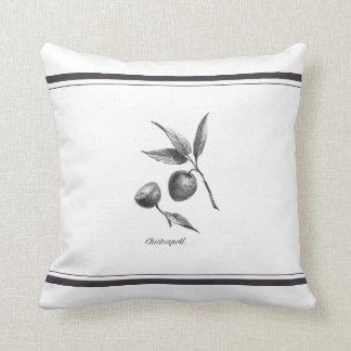 Vintage zapote exotic fruit etching pillow throw cushion