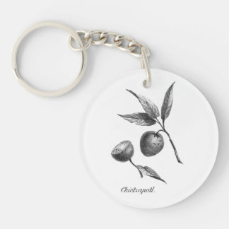 Vintage zapote fruit etching keychain