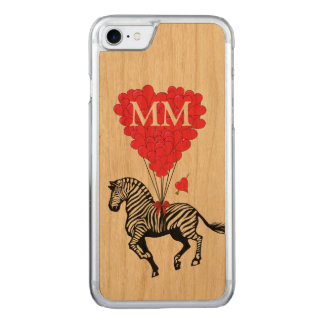 vintage Zebra and love heart Carved iPhone 8/7 Case