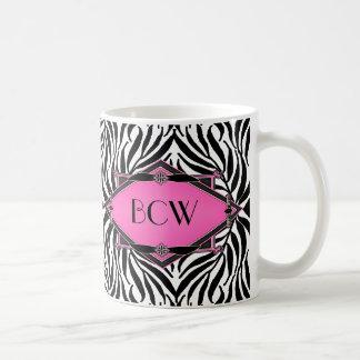 Vintage Zebra Art Deco Pink Diamond Monogram Basic White Mug