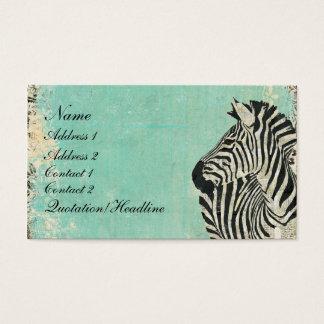 Vintage Zebra Blue Business Card/Tags Business Card