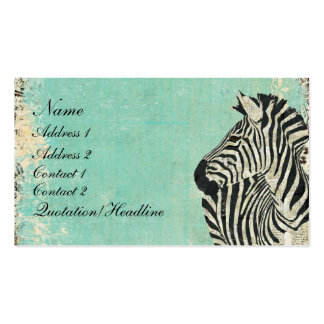Vintage Zebra Blue Business Card/Tags Pack Of Standard Business Cards