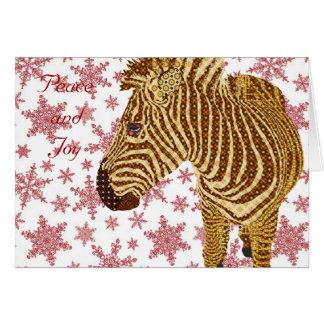Vintage Zebra II Christmas Greeting Greeting Card