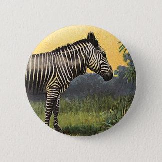 Vintage Zebra in the African Savannah, Wild Animal 6 Cm Round Badge