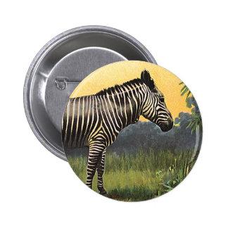 Vintage Zebra in the African Savannah, Wild Animal 6 Cm Round Badge