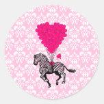 Vintage zebra & pink  heart balloons