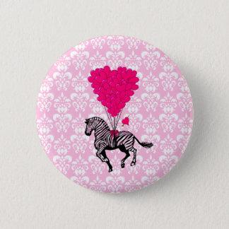 Vintage zebra & pink  heart balloons 6 cm round badge