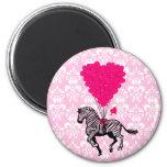 Vintage zebra & pink  heart balloons 6 cm round magnet