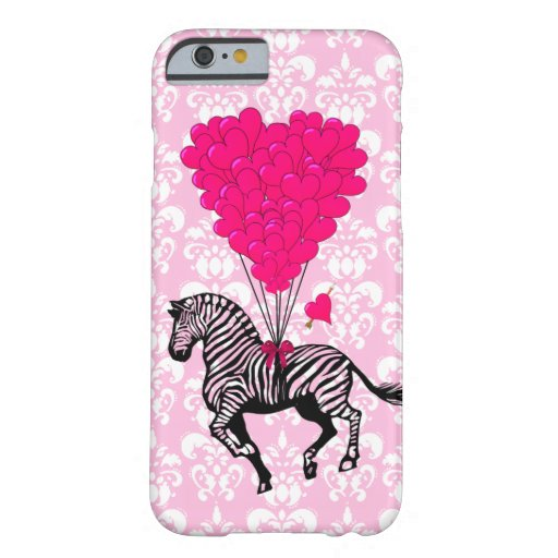 Vintage zebra & pink heart balloons iPhone 6 case