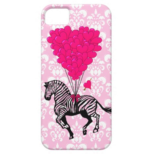 Vintage zebra & pink  heart balloons iPhone 5 cases