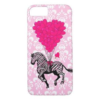Vintage zebra & pink heart balloons iPhone 8/7 case