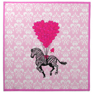 Vintage zebra & pink  heart balloons napkin