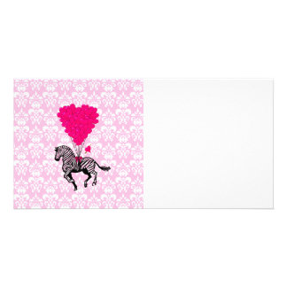 Vintage zebra & pink  heart balloons photo cards