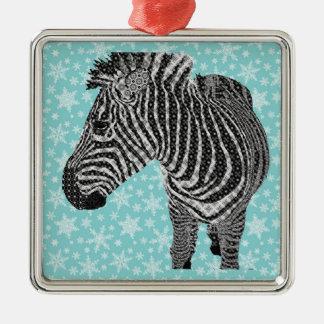 Vintage Zebra Square Metal Christmas Ornament
