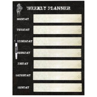 Vintage Zebra Weekly Planner Dry Erase Board
