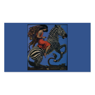Vintage Zebra with Art Nouveau Woman Rider Pack Of Standard Business Cards