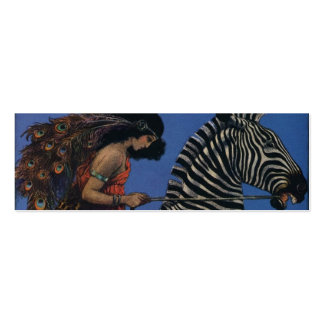Vintage Zebra with Art Nouveau Woman Rider Pack Of Skinny Business Cards