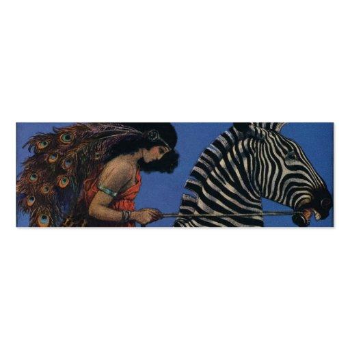 Vintage Zebra with Art Nouveau Woman Rider Business Card Templates