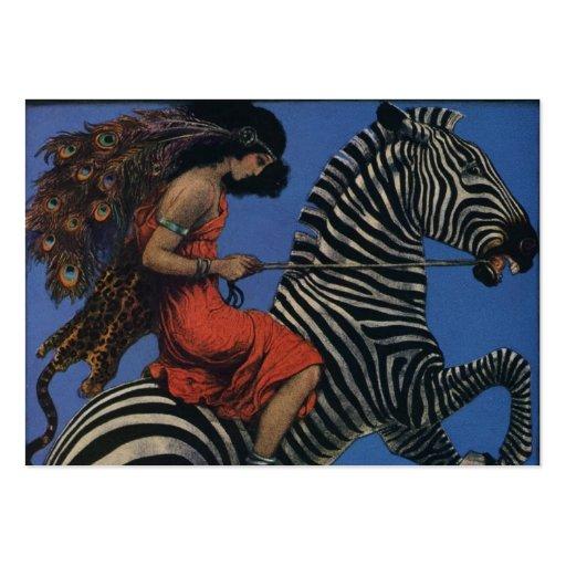 Vintage Zebra with Art Nouveau Woman Rider Business Cards