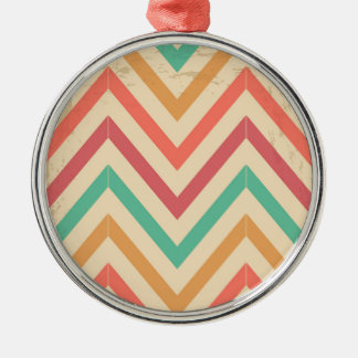 vintage zig zag Silver-Colored round decoration